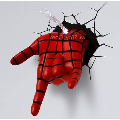 Most Up To Date 3D Wall Art Night Light Spiderman Hand For New Marvel Ultimate Spider Man Hand 3D Deco Wall Art Night Light Led (View 10 of 15)