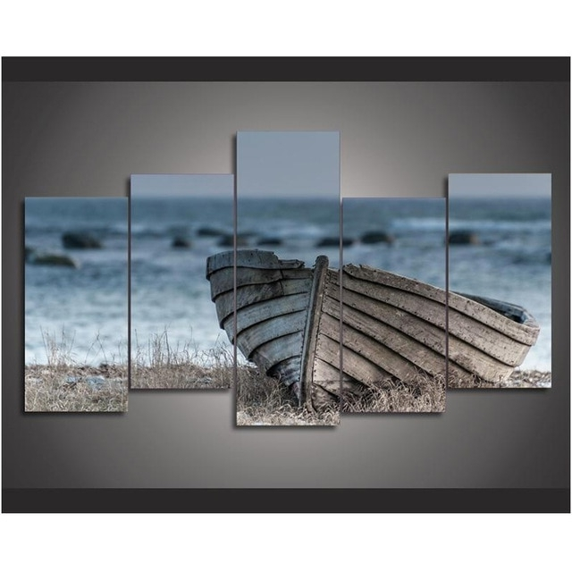 Most Up To Date 5 Piece Canvas Art Old Wooden Boat Canvas Painting Wall Art Home With Regard To Boat Wall Art (View 11 of 15)