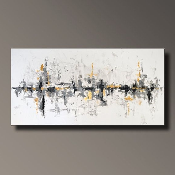 """Most Up To Date 75"""" Large Original Abstract Black White Gray Gold Painting On Canvas For Gray Abstract Wall Art (View 3 of 15)"""