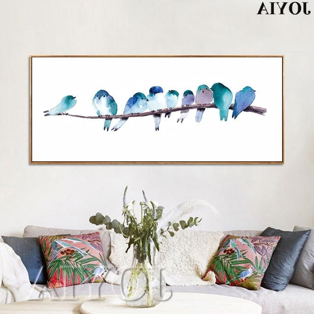 Most Up To Date Abstract Bird Wall Art Within Watercolor Canvas Art Prints Home Decor Abstract Bird Wall Pictures (View 13 of 15)