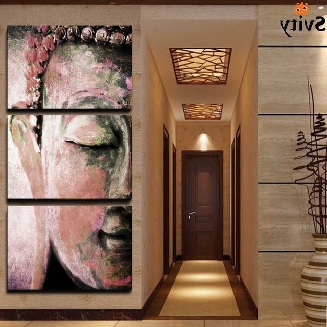 Most Up To Date Abstract Buddha Wall Art For No Frame 3Pcs Abstract Buddha Wall Art Paintings Home Decor For (View 2 of 15)