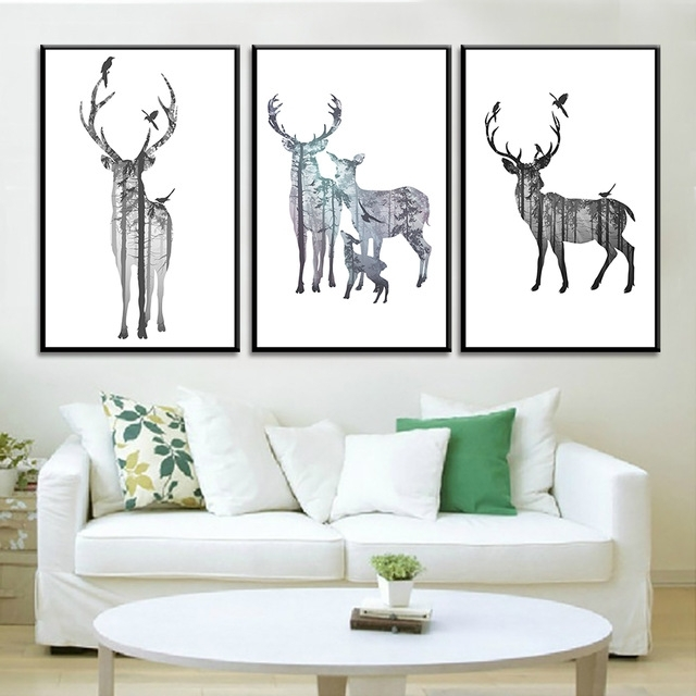 Most Up To Date Abstract Deer Wall Art Within 3 Pieces No Frame Abstract Deer Posters And Prints Decorative Spray (View 10 of 15)