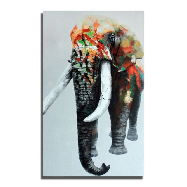 Most Up To Date Abstract Elephant Wall Art For Large Size Elephant Oil Painting On Canvas Modern Wall Art Hand (View 13 of 15)