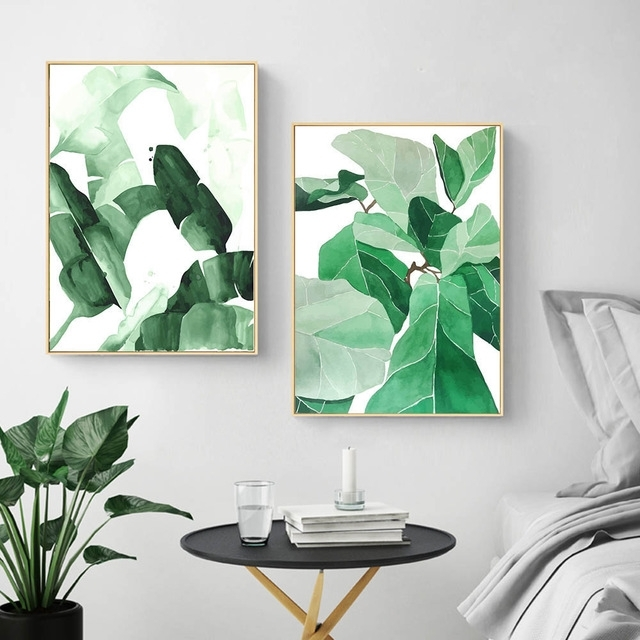 Most Up To Date Abstract Leaves Wall Art Intended For Watercolor Plants Leaves Wall Art Canvas Posters And Prints Abstract (View 12 of 15)