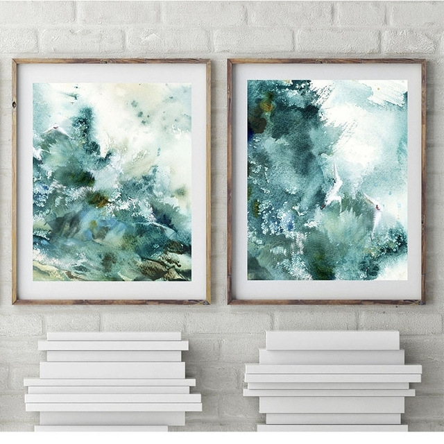 Most Up To Date Abstract Nautical Wall Art Pertaining To Abstract Nautical Prints Prints Watercolor Emerald Green Sea Wave (View 8 of 15)