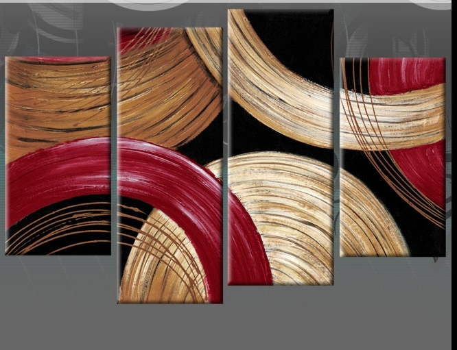 Most Up To Date Abstract Red Gold & Beige Circles 4 Panel Canvas Print 40 Inch With Abstract Circles Wall Art (View 12 of 15)