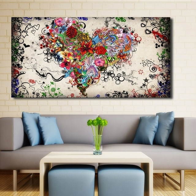 Most Up To Date Abstract Wall Art Canvas Inside Modern Big Canvas Wall Art Canvas Painting Watercolor Heart Flowers (View 3 of 15)