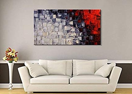 Most Up To Date Abstract Wall Art For Living Room Regarding Amazon: Seekland Hand Painted Acrylic Artwork Red And White (View 14 of 15)