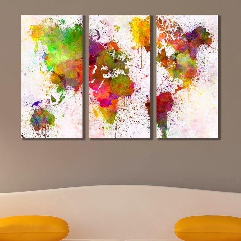 Most Up To Date Abstract World Map Wall Art With Regard To Online Wall Art Decoration Set Of 3 Parts Abstract World Map (View 3 of 15)