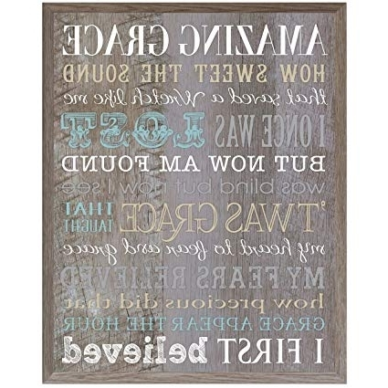 Most Up To Date Amazon: Amazing Grace Wall Art Sign Anniversary Gift For Husband Inside Grace Wall Art (View 9 of 15)
