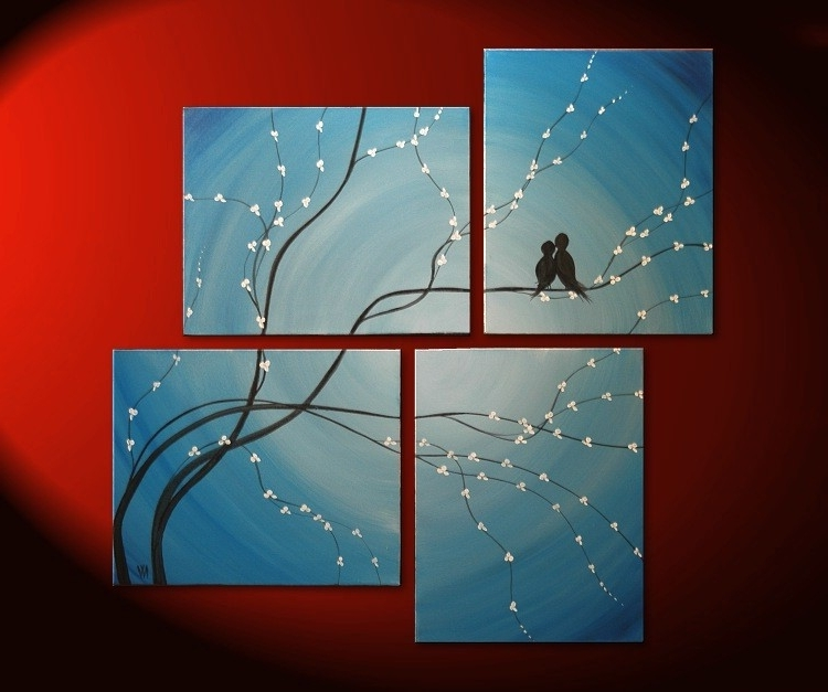 Most Up To Date Bird Painting Very Large Painting Love Birds Wall Art Sky Blue In Abstract Bird Wall Art (View 14 of 15)