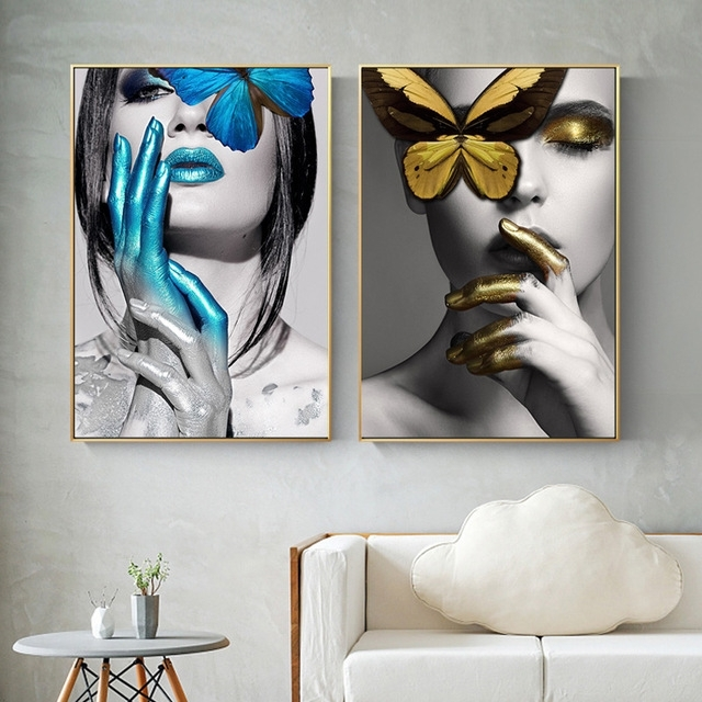 Most Up To Date Black And Gold Abstract Wall Art With Abstract Wall Art Pictures Fashion Woman Lips Butterfly Gold And (View 6 of 15)
