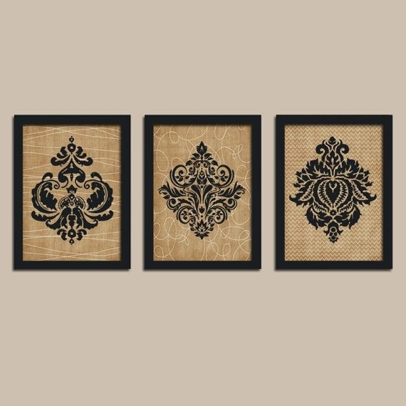 Most Up To Date Black And White Damask Wall Art Dabigkahuna Adorable (View 12 of 15)