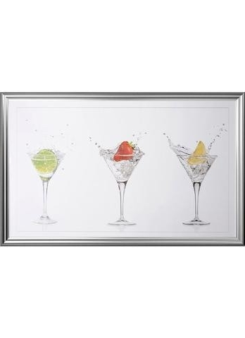 Most Up To Date Cocktail Trio Framed Liquid Art 108 X 68Cm Furniture Essentials Cool Regarding Martini Glass Wall Art (View 2 of 15)