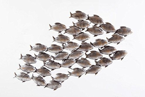 Most Up To Date Dipamkar Large Home Decor Aged Grey Metal School Of Fish In Swim With Regard To Stainless Steel Fish Wall Art (View 8 of 15)