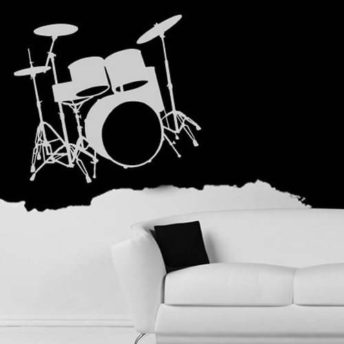 Most Up To Date Drum Kit Wall Sticker Instruments Music Wall Decal Kids Bedroom For Musical Instrument Wall Art (View 7 of 15)