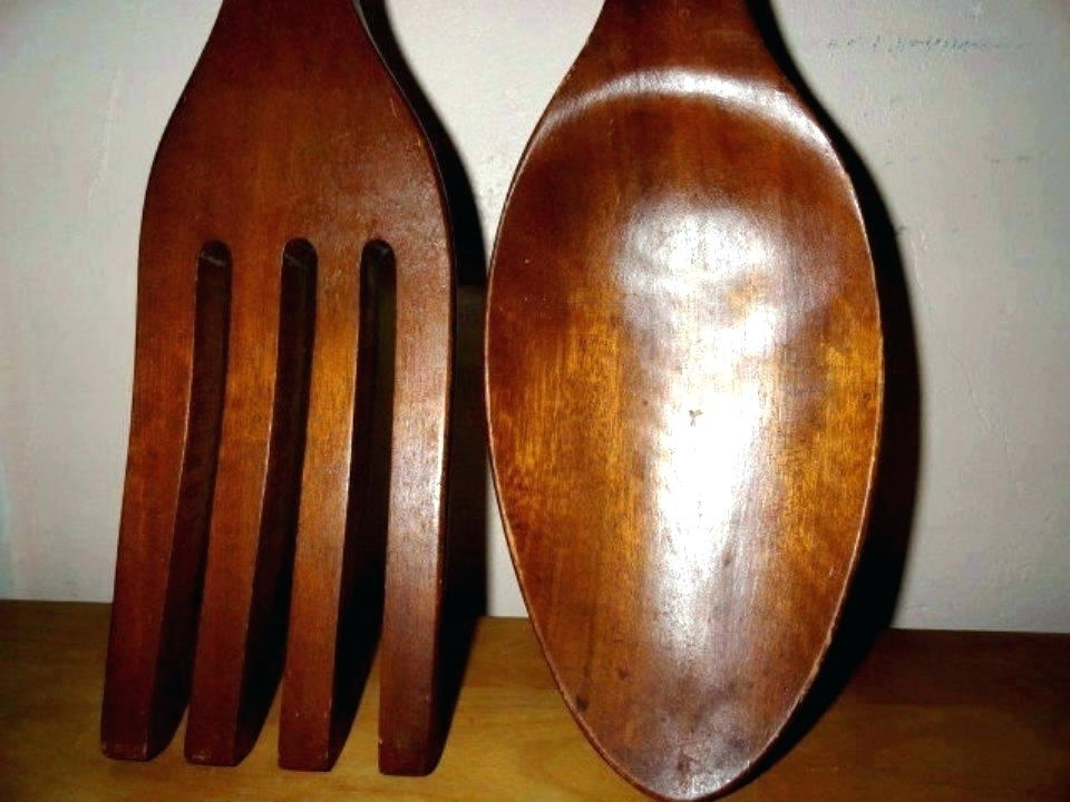 Most Up To Date Giant Fork And Spoon Wall Art With Fork Spoon Wall Art Vintage Giant Wood Fork Spoon Wall Art Totem (View 13 of 15)