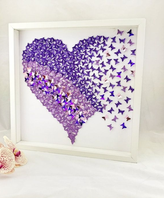 Most Up To Date Heart 3D Wall Art With Wall Art, Butterfly Heart, 3D Wall Art, Bedroom Wall Art, Girls Room (View 8 of 15)