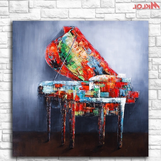Most Up To Date Huge Pop Art Piano Oil Painting Wall Art Paiting Canvas Paints Home Throughout Abstract Piano Wall Art (View 10 of 15)