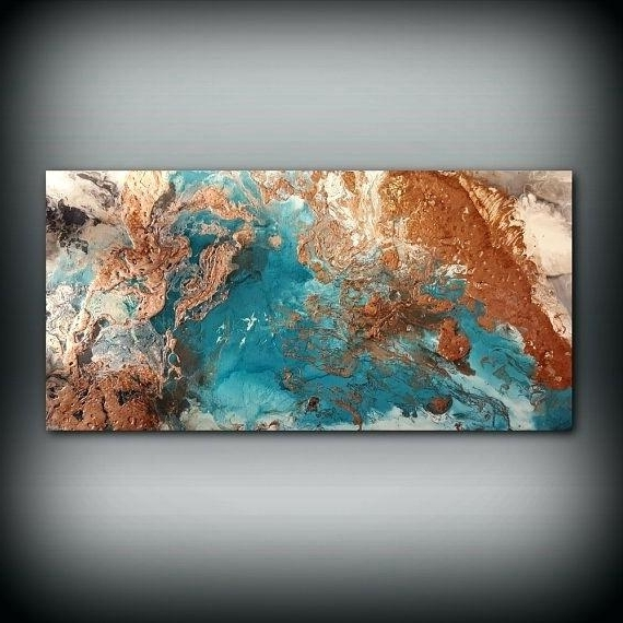 Most Up To Date Large Copper Wall Art Copper Coastal Painting X Acrylic Painting On Pertaining To Abstract Copper Wall Art (View 13 of 15)