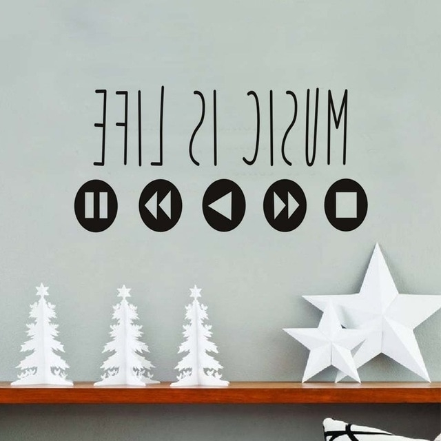 Most Up To Date Large Size Music Is Life Theme Stickers Removable Vinyl Wall Art For For Music Theme Wall Art (View 6 of 15)