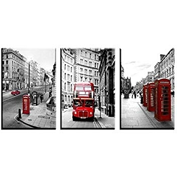 Most Up To Date London Scene Wall Art In Amazon: Qicai 3 Panels Black And White England London City (View 12 of 15)