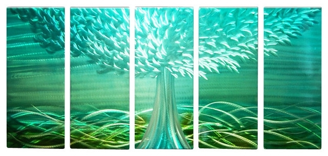 Most Up To Date Metal Wall Art Abstract Landscape Contemporary Handmade Blue Decor Throughout Blue And Green Wall Art (View 4 of 15)