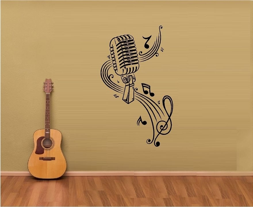 Most Up To Date Music Note Art For Walls Inside Wall Art Ideas Design : Microphone Music Note Art For, Music Art (View 5 of 15)