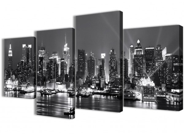 Most Up To Date New York Skyline Canvas Black And White Wall Art Intended For Large New York Hudson River Skyline Canvas Art Prints – Landscape (View 9 of 15)