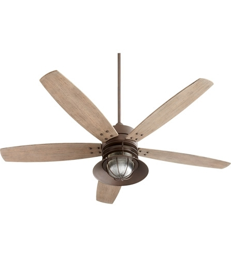 Most Up To Date Outdoor Ceiling Fans With Hook Inside Quorum 14605 86 Portico 60 Inch Oiled Bronze With Weathered Oak (View 7 of 15)