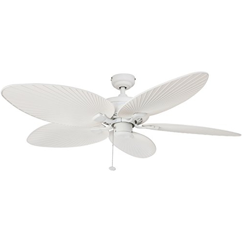 Most Up To Date Outdoor Ceiling Fans With Palm Blades Pertaining To Honeywell Palm Island 52 Inch Tropical Ceiling Fan, Five Palm Leaf (View 7 of 15)