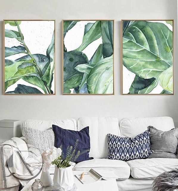 Most Up To Date Palm Leaf Wall Decor Throughout New Summer Green Leaves Wall Art Set Canvas Art Palm Tree Leaves (View 5 of 15)