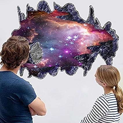 Most Up To Date Space 3D Vinyl Wall Art For Amazon: Chans® 3D Outer Space Galaxy Meteorites Wall Stickers (View 8 of 15)