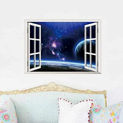 Most Up To Date Space 3D Vinyl Wall Art Throughout Amazon: Fange Space Galaxy Universe Porthole 3D Window View (View 9 of 15)