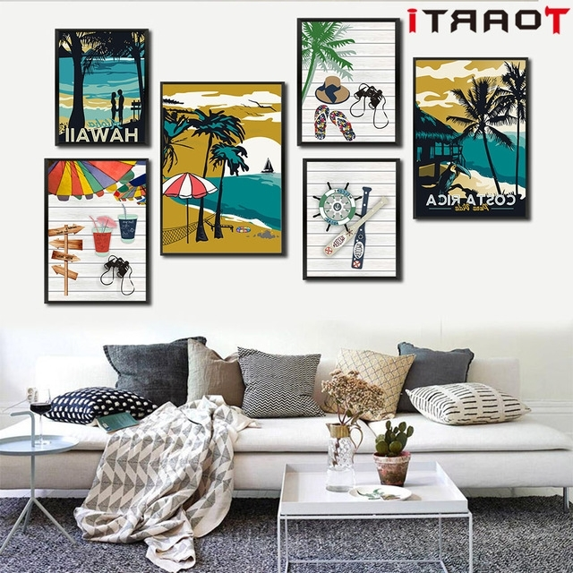 Most Up To Date Vintage Poster Hawaii Tropical Sea Beach Seascape Art Canvas Huge Throughout Hawaiian Wall Art Decor (View 12 of 15)