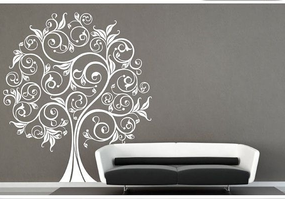 Most Up To Date Vinyl Wall Art Tree Decal Tangothecreepingtree On Etsy, $ (View 7 of 15)