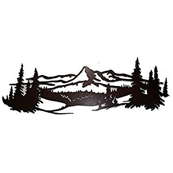 Mountain Scene Metal Wall Art For Widely Used Amazon: Say It All On The Wall Mountain Scene With Pine Trees (View 13 of 15)