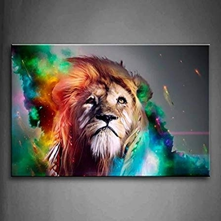 Moxo Big Colorful Lion Canvas Wall Art Lion Canvas Colorful Lion In 2017 Abstract Lion Wall Art (View 11 of 15)