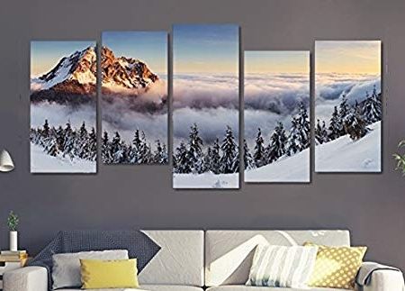 Multi Canvas Wall Art With Most Popular Art Fever The Snow Landscape Mountain Scene 5 Panel Multi Canvas (View 8 of 15)
