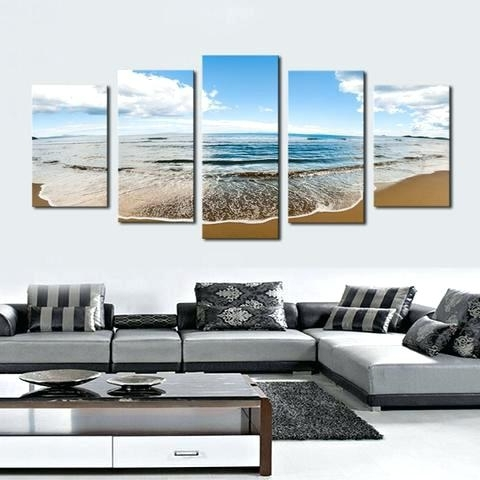 Multi Panel Canvas Wall Art Regarding Fashionable Multi Panel Canvas Wall Art Sprawling Beach 5 Piece Canvas (View 4 of 15)