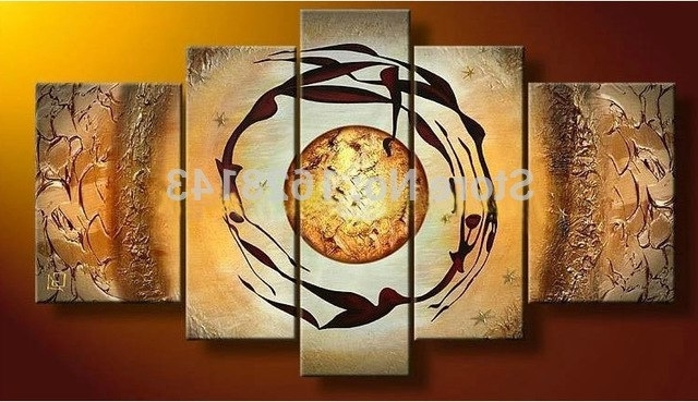 Multi Panel Canvas Wall Art Set Yellow Modern Abstract Oil Paintings Inside Well Liked Multi Panel Canvas Wall Art (View 10 of 15)