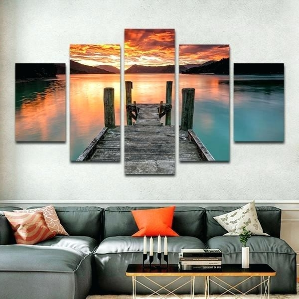 Multi Piece Canvas Wall Art Jump In The Lake Multi Panel Canvas Wall For Trendy Groupon Wall Art (View 13 of 15)