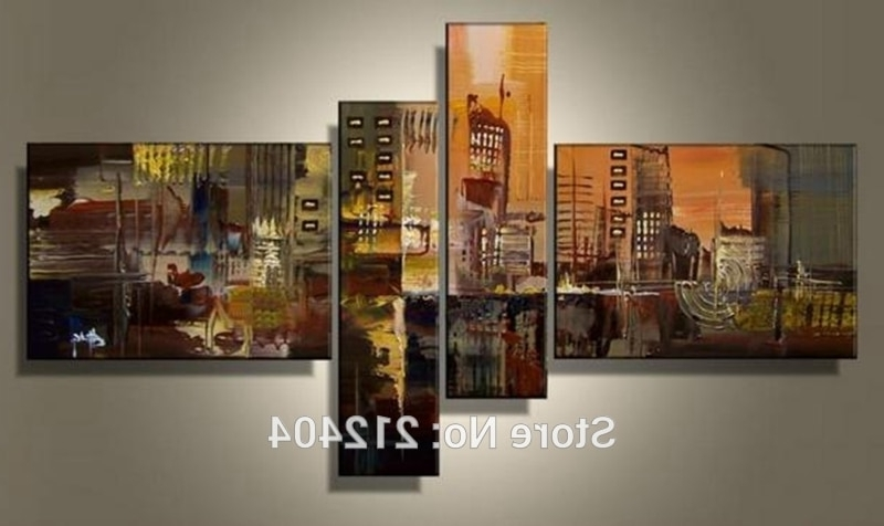 Multiple Piece Canvas Wall Art Regarding Famous Online Shop Hand Painted 4 Piece Wall Art Multi Panel Canvas Oil (View 10 of 15)
