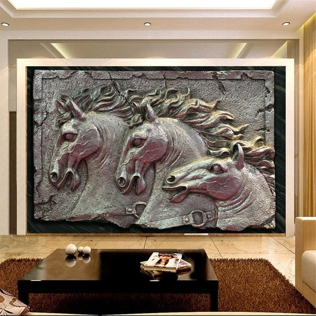 Murals 3D Wallpapers Home Decor Photo Background Wallpaper Horse Within Well Known Metal Wall Art Decor 3D Mural (View 13 of 15)