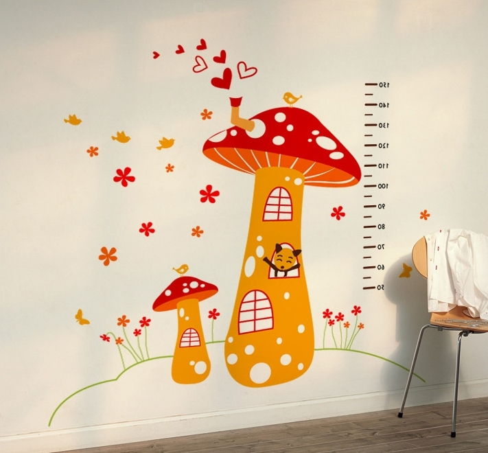 Mushroom Measuring Height Wall Decals For Kids Rooms Pertaining To Most Popular Mushroom Wall Art (View 6 of 15)