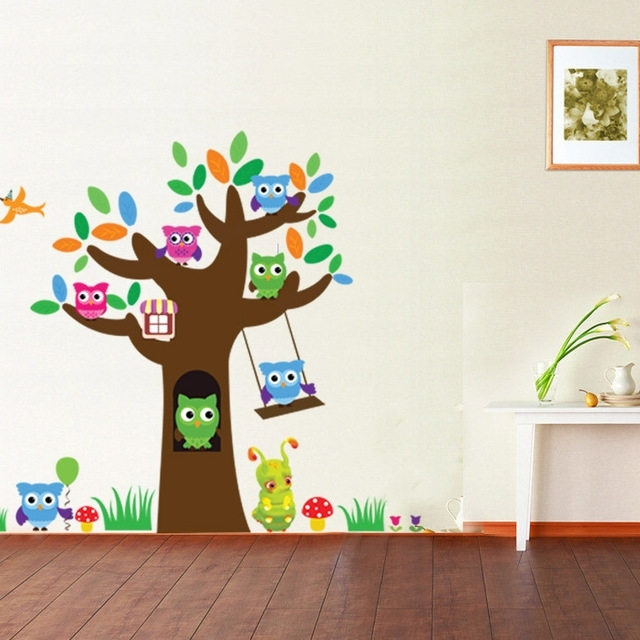 Mushroom Wall Art Inside 2017 Aliexpress : Buy Owl Tree Mushroom Wall Sticker Kindergarten (View 7 of 15)