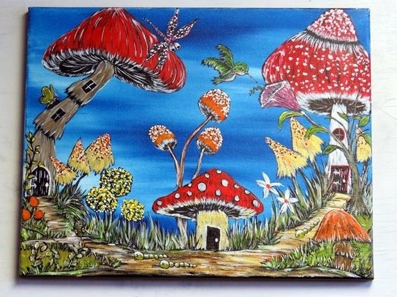 Mushroom Wall Art With Most Current Mushroom Wall Art Original Acrylic Painting On Canvas (View 8 of 15)