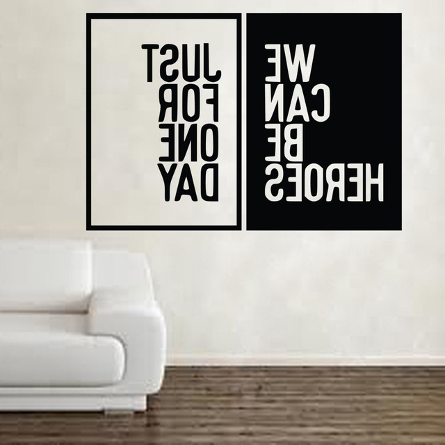 Music Lyrics Wall Art Intended For Fashionable David Bowie Heroes Song Music Lyrics Wall Sticker Art Free Shipping (View 1 of 15)