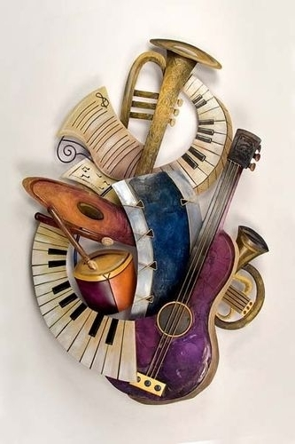Music Metal Wall Art within 2017 Musical Instruments Collage Metal Wall Sculpture - Music Metal Wall