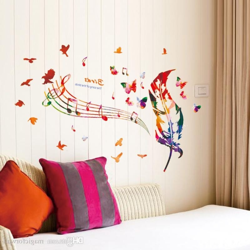 Music Note Art For Walls Intended For Current Colorful Feather Musical Note Butterfly Birds Wall Art Mural Poster (View 7 of 15)